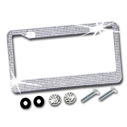 Zento Deals Shiny Crystal Bling Metal Chrome License Plate Frame with Anti-Theft Screw - Plate Studded