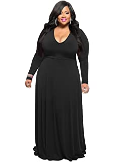 13d56686afac HPLY Women Fashion Casual Dresses Plus Size Printed Round Neck Maxi ...