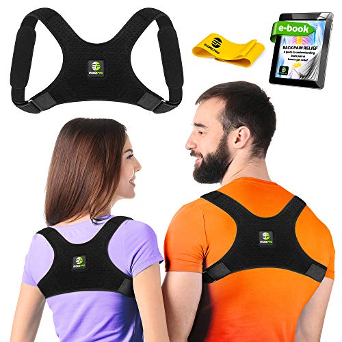 Upper Back Brace Posture Corrector for Women and Men - Shoulder Brace Back Posture Corrector - Upper Back Support - Back Straightener Posture Corrector - Resistance Band Included (Regular)
