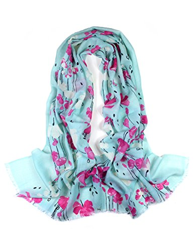 Dahlia Women's 100% Merino Wool Pashmina Scarf - Raindrops and Flower - Mint Blue