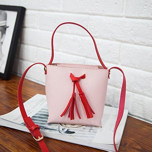Bolsón del la Bolso del PU Majome de del color del Rosa del de mujeres de de cuero totalizador hombro Bolso borla de Crossbody las caramelo bolso R8ga8