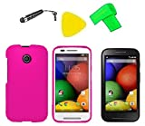 Phone Cover Case Cell Phone Accessory + LCD Screen Protector Guard + Extreme Band + Stylus Pen + Yellow Pry Tool For Straight Talk Tracfone NET10 Motorola Moto E XT830C (Pink)