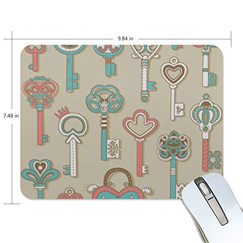 Fashion Retro Unique Custom Mousepad Key Metal Creative Hand-Painted Design Printing Non-Slip Rectangle Natural Rubber Fabric Mouse Mat Gaming Mouse Pad