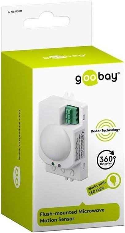 Sensor de Movimiento Goobay 96011 Detector de Movimiento Sensor de microondas Al/ámbrico Techo Blanco Sensor de microondas, Al/ámbrico, Techo, Blanco, IP20, 1,5 m