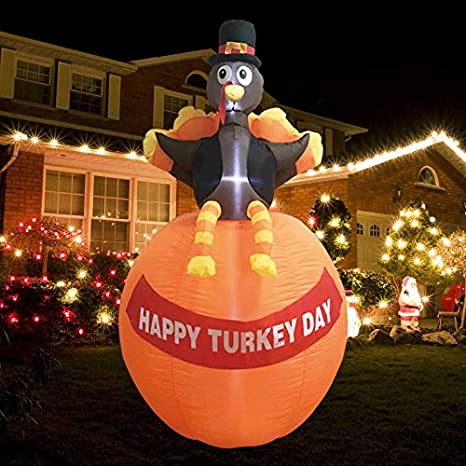 Mortime 6 Ft Thanksgiving Inflatable Turkey With Pumpkin Blow Up Lighted Turkey Decor With Led Lights For Fall Autumn Yard Party Shopping Mall Harvest Day Thanksgiving Decorations Amazon Ca Patio Lawn Garden