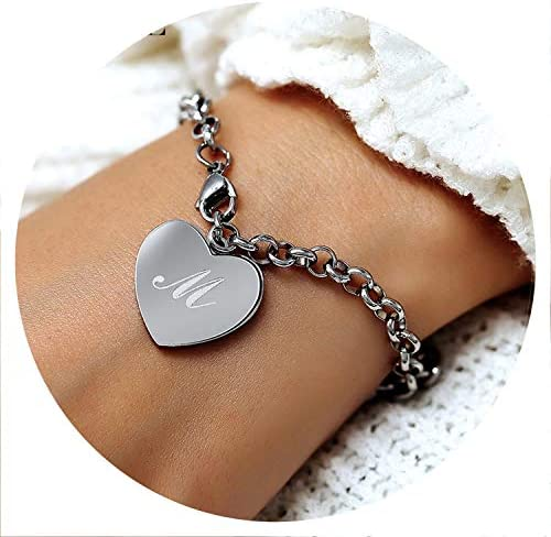 GiftJewelryShop Silver Plated Black Letter R Photo Three Heart Beads Charm Bracelets