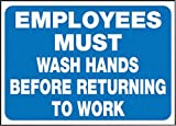 Accuform Signs 3 1/2'' X 5'' White And Blue 4 mil Adhesive Vinyl Housekeeping Safety Label''EMPLOYEES MUST WASH HANDS BEFORE RETURNING TO WORK'' (5 Per Pack)