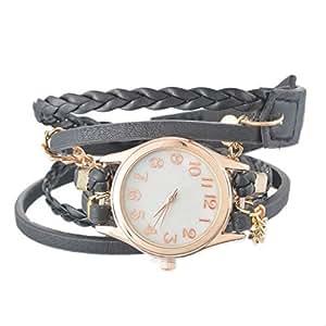 Souarts Black Women Multilayer Weave Wrap Link Leather Bracelet Quartz Wrist Watch