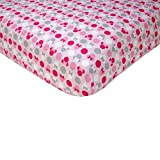 Disney Minnie Mouse Polka Dots 100 Percent Cotton Fitted Crib Sheet, Light Pink/White/Grey/Bright Raspberry