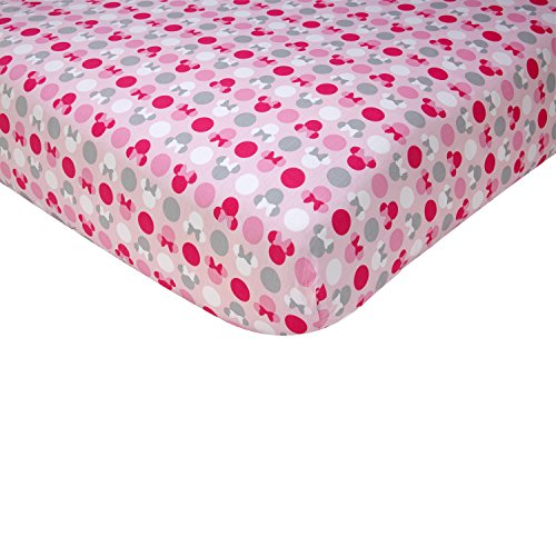 Disney Minnie Mouse Polka Dots 100 Percent Cotton Fitted Crib Sheet, Light Pink/White/Grey/Bright Raspberry (White Crib Sheet With Gold Polka Dots)