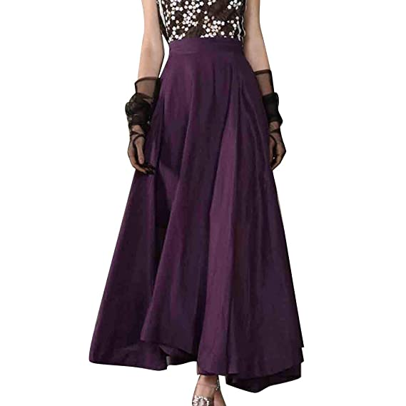 Falda largas Plisada Elegante Vintage/💖QIjinlook💖/Falda largas ...