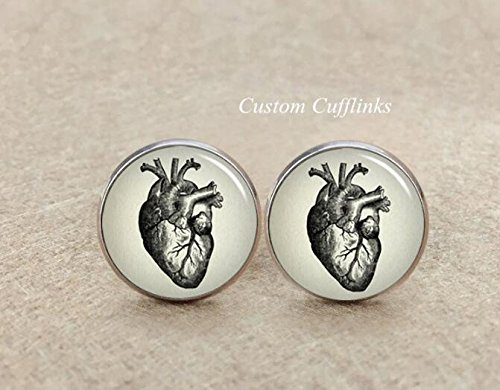 (Heart anatomy cufflinks, Doctor Gift, Vintage Heart Anatomy Cufflinks, custom wedding cufflinks, square cufflinks, Custom wedding cufflinks)