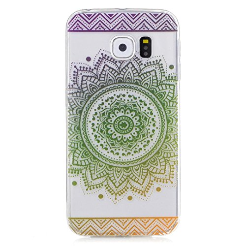 KSHOP Samsung Galaxy S6 Edge TPU Soft Case Transparent TPU Silicone Cover Bumper ShellColorful Pattern Design Clear Crystal Protective Back Bumper Shell-Green Mandala