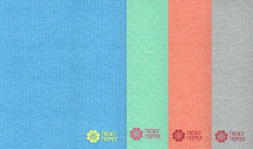 Swedish Dishcloths, Reusable Set of 4-B (FOUR) Solid Mixed Colors (Blue, Grey, Orange, Green)