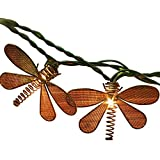 Pansdore Christmas Lights Metal Dragonfly String Lights 10 Bulbs for Home Garden Patio Party Wedding Indoor Outdoor Hanging Decoration, Green Wire