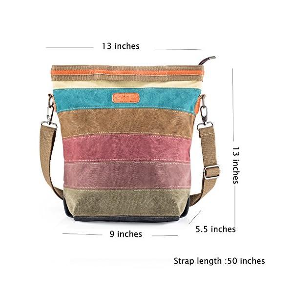 Canvas Handbag SNUG STAR Multi-Color Striped Lattice Cross Body Shoulder Purse Bag Tote-Handbag for Women