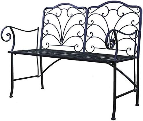 Silla Doble banco plegable banco de 2 plazas para jardín (hierro negro asiento 52 x 92 x 111 cm: Amazon.es: Jardín