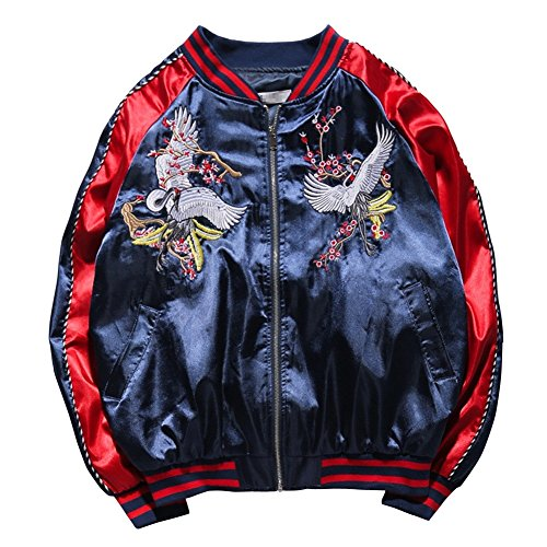 LETSQK Men's MA-1 Air Force Crane Embroidery Lightweight Baseball Bomber Jacket Red L -