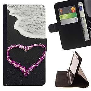 BullDog Case - FOR/HTC One M8 / - / Love Flower Heart Beach /- Monedero de cuero de la PU Llevar cubierta de la caja con el ID Credit Card Slots Flip funda de cuer