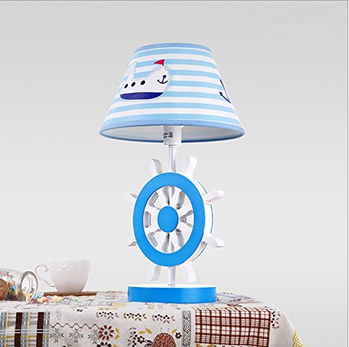 CLG-FLY Children's room lamp male girl bedroom Mediterranean cloth shade study lamps bedside lamp button switch 25×42.5cm