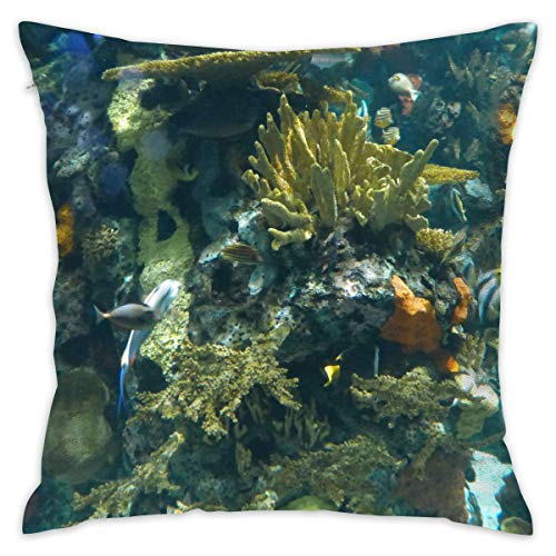 TRK-KWQDF Artificial Coral Reef Beach Throw Pillows Covers for Couch/Bed 18 X 18 Inch, Print for Textile Wallpaper Pattern Home Sofa Cushion Cover Pillowcase Gift Bed Car Living - Pillow Throw Reef