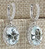 Fashion Women 925 Silver Aquamarine Gemstone Bridal Ear Stud Hoop Dangle Earrings(Style-Round)