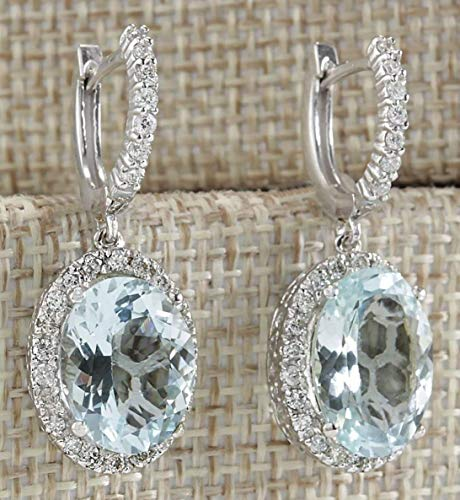 - Fashion Women 925 Silver Aquamarine Gemstone Bridal Ear Stud Hoop Dangle Earrings(Style-Round)