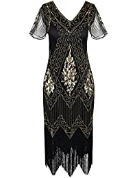 Women's 1920s Dress Sequin Art Deco Flapper Dress With...