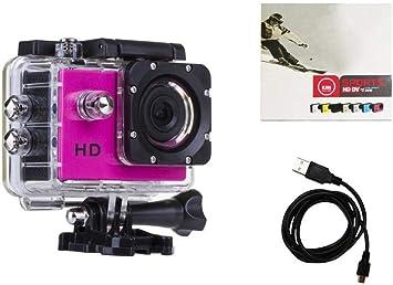 ab_direct_import cámara Deporte Rosa 720P + Caja estanca + batería + Cable de Carga + Instrucciones: Amazon.es: Electrónica