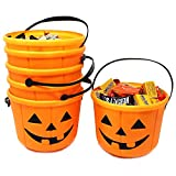 Halloween Trick or Treat Pumpkin Bucket Jack O Lantern Candy Basket Halloween Party Supplies Pumpkin Pails with Handle (6 Pack)
