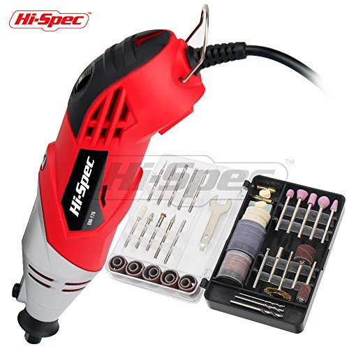 Hi-Spec 1.4A (170W) Rotary Tool with Variable Speed Switch & 120pc Universal Accessories Kit for Cutting, Grinding, Sanding, Sharpening, Carving & Polishing - Rotary Tool Kit - DREMEL Compatible