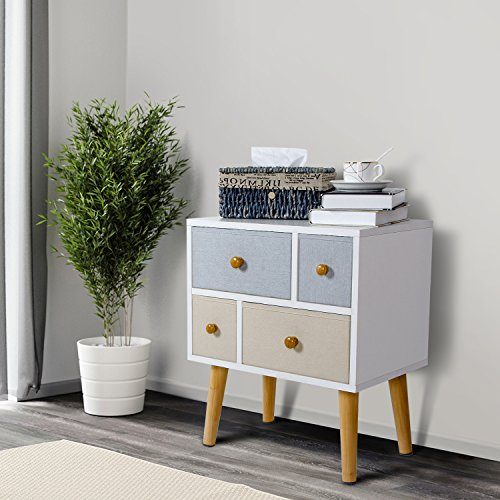 Lifewit Modern Nightstand Side End Table for Bedroom Living Room Sitting Room with 4 Drawers, White