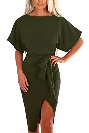 50a98032eb Women's Elegant Short Sleeve Wear to Work Casual Split Pencil Dress with Belt  Army Green S