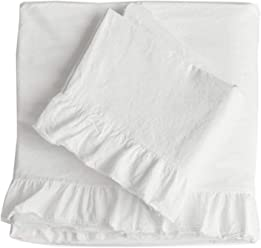 Piu Belle Queen Sheet Set Shabby Chic Frayed Ruffles 4pc 100% Cotton Cottage French Style