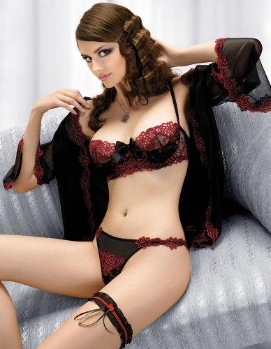 Gracya Mon Amour Black and Red Balconette Bra B153