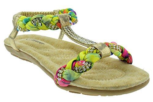 Per Sempre Calista 34 Sandalo Piatto Donna Gladiatore Intrecciato Con Strass Comfort