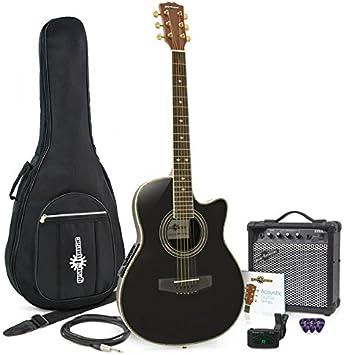 Kit Guitarra Electroacustica Negra Amplificador
