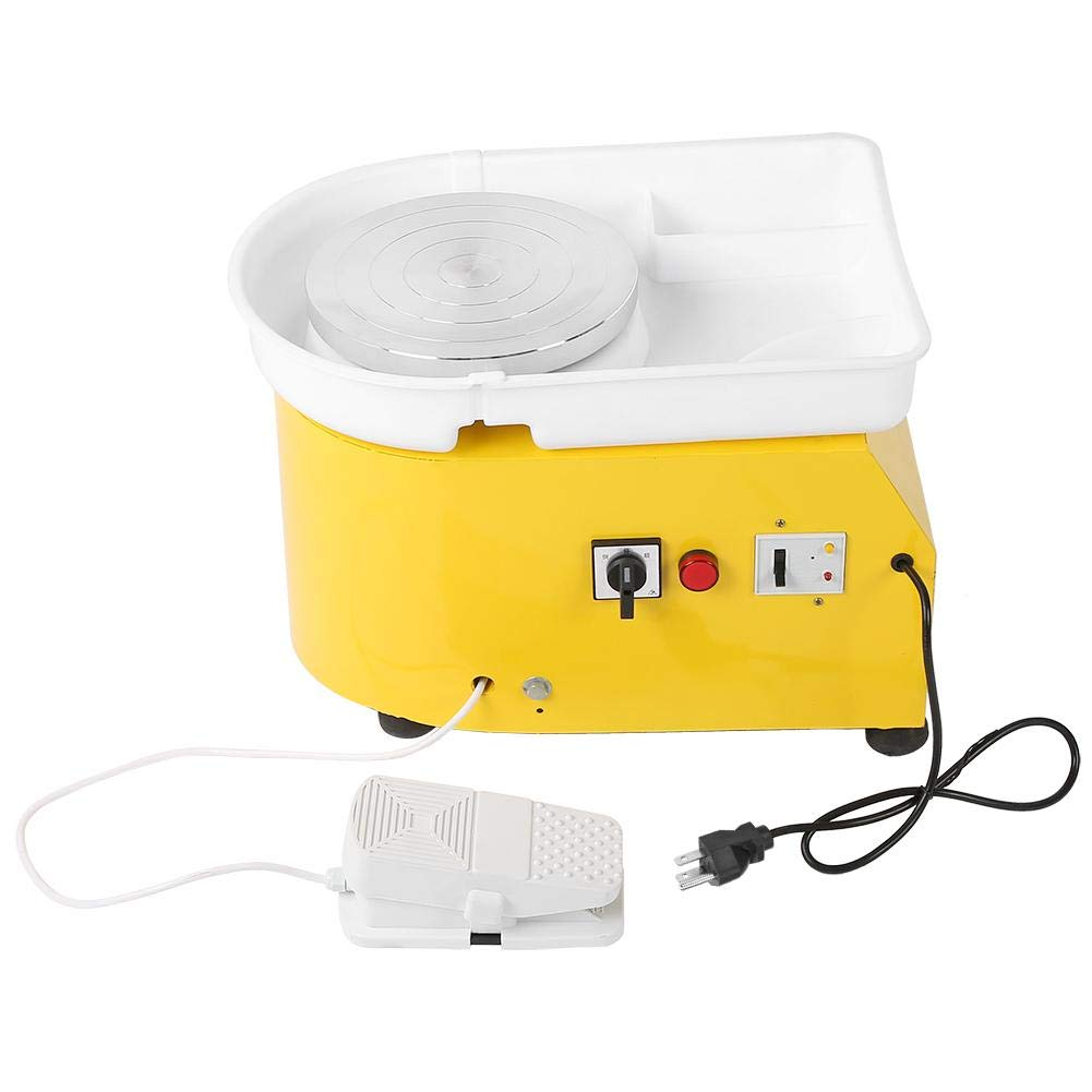 Aufee Pottery Wheel Machine, Reliable 250W Electric Pottery Wheel Ceramic Forming Machine DIY Clay Tool with Washable Basin Pedal for School Pottery Bar Home(Yellow)