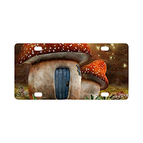 INTERESTPRINT Fantasy Mushroom Cottage with Dragonfly on Colorful Meadow Metal License Plate for Car, Metal Auto Tag for Woman Man, 12 x 6 Inch