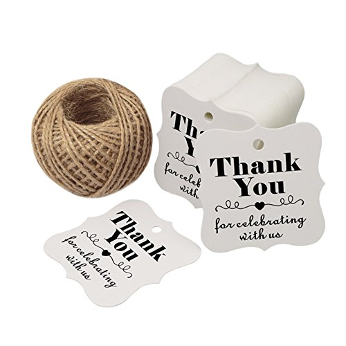 Paper Gift Tags for Baby Shower,Thank You for Celebrating with Us,100 Pcs Kraft Thank You Tags for Wedding Party Favors Gifts with 100 Feet Natural Jute Twine ()