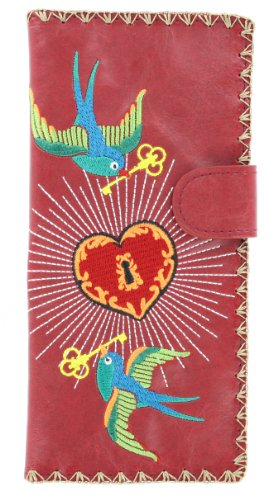 Birds w/ Key to Heart Embroidered Vegan Leather Wallet (Red)