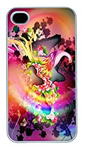 IPhone 4S Cases Colorful Abstract Phoenix And Flowers HAC1014107 Polycarbonate Hard Case Back Cover for iPhone 4/4S White