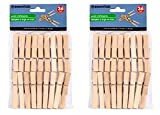 Wooden Clothespins, Spring-clamp Clips for Indoor / Outdoor Clotheslines, 7-Coil Springs, 72-ct