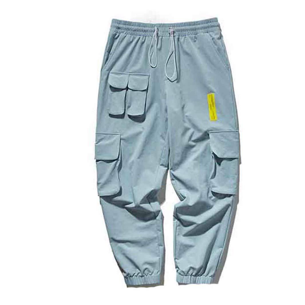 Generic Men Joggers Cargo Pants Herbst Kordelzug Elastische Taille Komfortable, Abriebfeste und waschbare Overalls Streetwear Trousers