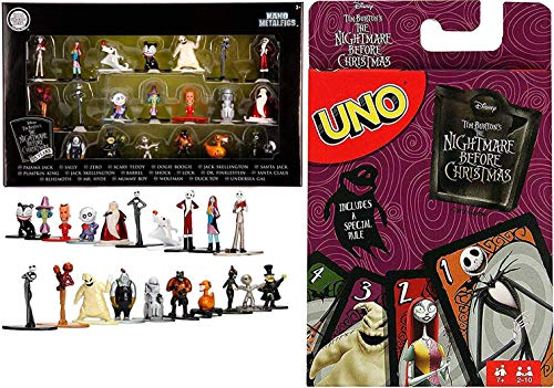 Creep Friends Fright Go! Uno Card Game Nightmare Before Christmas Classic Matching + Bundled with Character Jack Skellington Halloweentown Mega Mini Figure Pack Sally / Boogie Boogie / Zero Ghost -