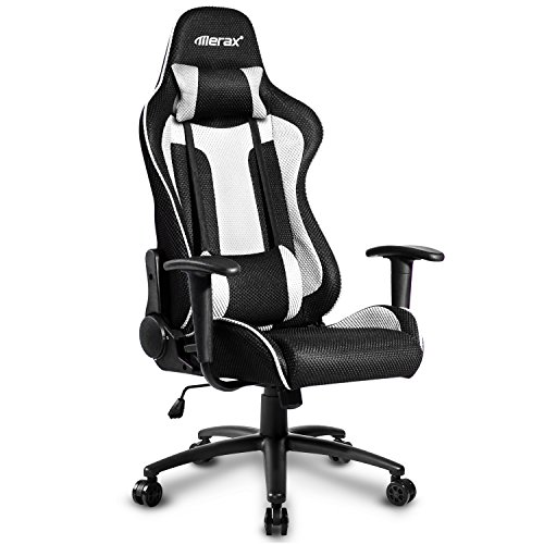 Merax Racing Gaming Chair Executive Swivel Mesh Computer Office Chair Metal Frame(White)