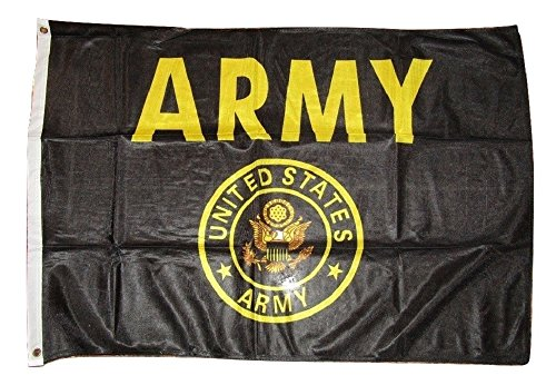 Premium Quality Polyester - 2x3 U.S. Army Crest Seal Emblem Black Gold Knitted Flag 2'x3' Banner House Banner Brass Grommets Fade Resistant Double Stitched Premium Quality Polyester Nylon