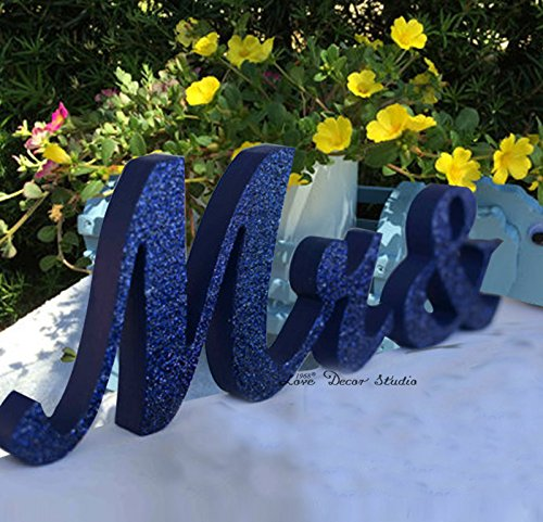 Royal blue Mr & Mrs Glitter Sign- Wedding decoration- Mr and Mrs signs for sweetheart table (7 inches)