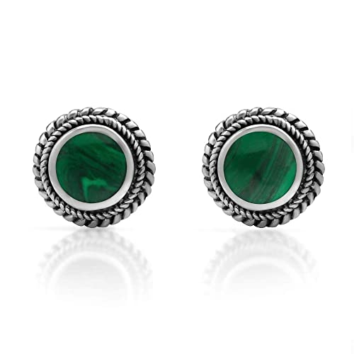 42a0db422 925 Sterling Silver Post Stud Earrings - Chuvora Jewelry - Bali Inspired  Braided Green Stone
