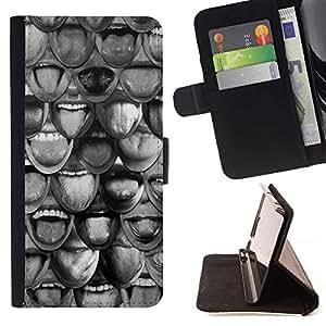 Momo Phone Case / Flip Funda de Cuero Case Cover - Sonrisa modelo abstracto Significado Profundo - Samsung Galaxy J1 J100